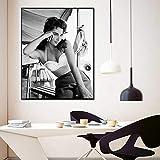 WDQFANGYI Póster De Película En Blanco Y Negro con Impresión De Foto De Película De Elizabeth Taylor, Arte De Pared con Estrellas, Pintura para Decoración del Hogar, 50X70Cm (FLL6662)