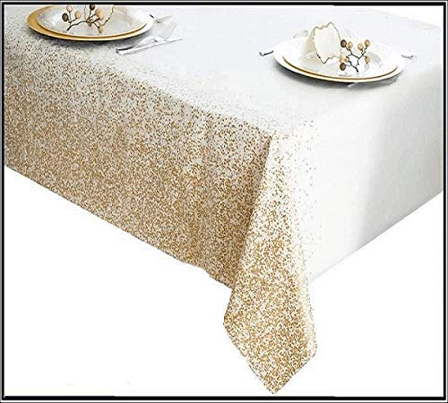 Disposable Plastic Tablecloth Set, 6 Pack, Long 8ft Rectangular Length, Waterproof PE Table Covers for Indoor or Outdoor Events, Birthday Parties, Weddings or Graduations, Glittery Gold, 54 x 108 Inch