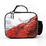 Bolsa isotérmica con diseño de azaleas rojas y flores, para almuerzo, bolsa de pícnic, bolsa térmica para el almuerzo, moderna, aislante, para mujeres y hombres, color blanco, talla única