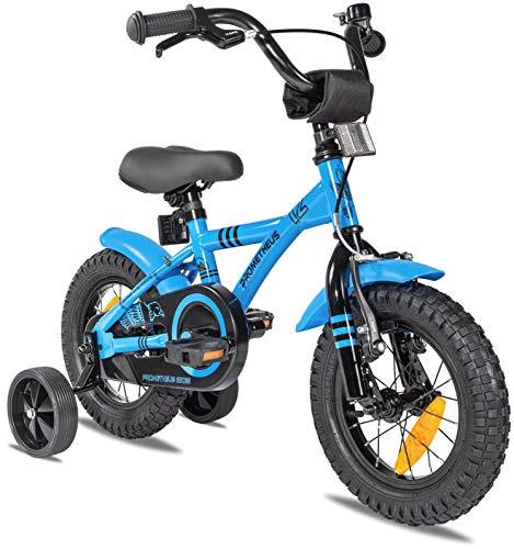 Prometheus Kinderfahrrad 12 Zoll Jungen mit Stützräder ab 3 Jahre Mädchen Rücktritt 12zoll BMX Modell 2021 in Blau Schwarz