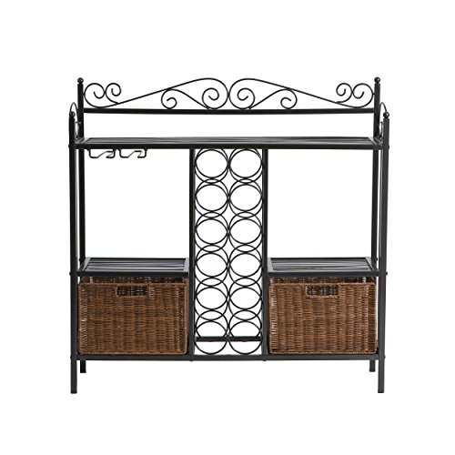 SEI Furniture Celtic Wrought Iron Bakers Rack Wine Storage, Gunmetal Gray