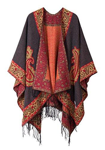 Schicker Damenponcho, Vintage-Umhang mit Schal und Quasten, traditionelles Muster Gr. One size, series 2 Grey
