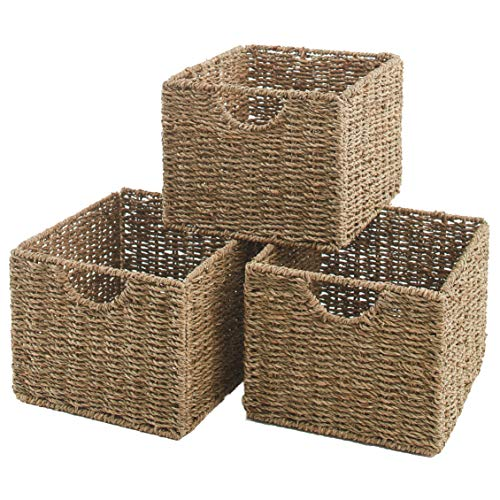 The Lakeside Collection Seagrass Cube Storage Home Organizer Baskets - Set of 3