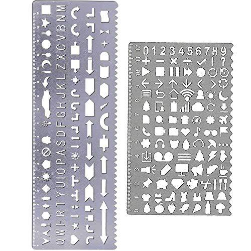 Amupper Buchstabenschablonen aus Messing - Metallschablonen mit vielen Symbolen - 2er Set silber