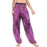 Nuofengkudu Mujer Hippie Thai Algodón Harem Pantalones con Bolsillo Boho Estampados Sueltos Pantalón Cintura Alta Indios Yoga Pants Pijama Verano Playa(Morado Flor,Talla única)