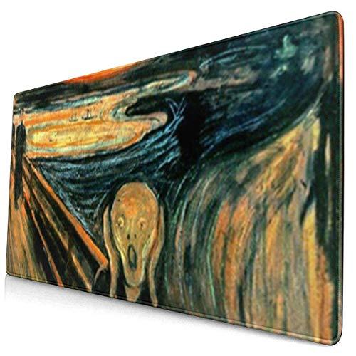 HENTIN Antislip rubberen gamingmuismat, rechthoekige muismat Oorlogskreet Edvard Munch schilderij Fijne horror Scary Expressionisme