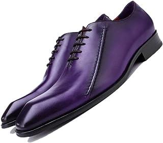 62cf449337b0 Purple Black Pointed Angleterre Chaussures d'affaires Hommes Gentleman  Respirant À La Main Chaussures De