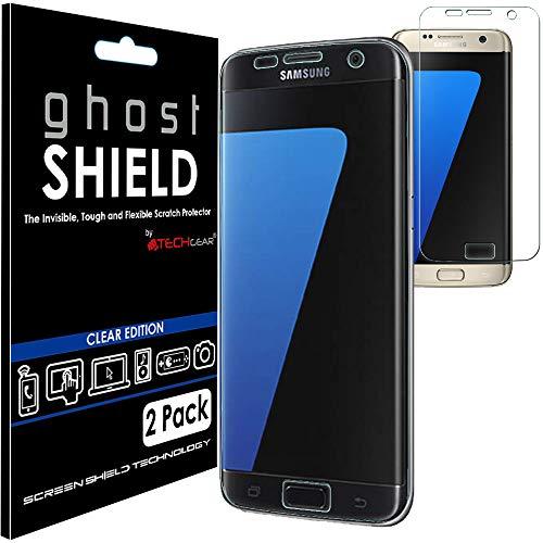TECHGEAR [3 Piezas Protector de Pantalla Compatible con Samsung Galaxy S7 Edge [ghostSHIELD] Reforzada Flexible TPU Protector de Pantalla con Cobertura de Pantalla Completa inclusiva Pantalla Curva