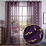 Kotile Purple Sheer Curtains - Gold Moroccan Trellis Grommet Sheer Curtains for Girls Room, 52 x 95 Inch, 2 Panels