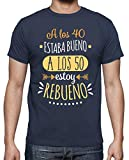latostadora - Camiseta Rebueno A los 50 para Hombre Denim 4XL