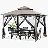 ABCCANOPY 11x11 Patio Gazebo for Patio Double Roof Soft Canopy with Netting Garden Backyard Gazebo for Shade and Rain, Gray