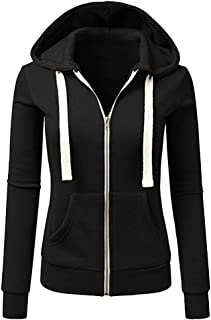 Women Casual Autumn Winter Long Sleeve Hooded Coat Zipper Sport Outwear Jacket