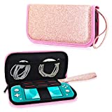 ACdream Case Fits Nintendo Switch Lite, Premium PU Leather Protective Case Bag for New Nintendo Switch Lite 5.5 inches 2019 Release with Portable, 6 Game Cards, Zipper Closure, Glitter Rose Gold