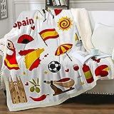 Manta de felpa de España para guitarra y fútbol (127 x 152 cm), diseño de paella flamenca y fútbol con lindos iconos sherpa felpa felpa (rojo, verde y blanco)