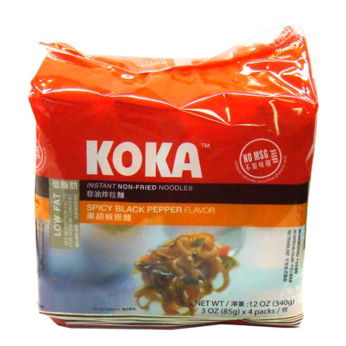 Koka Spicy Black Pepper (Non-Fried Noodles), 85-Grams (Pack of 24)