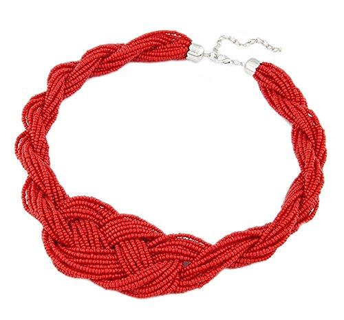 DELEY Atmosfera Bohémien Piccole Perline Stringa Maxi Cluster Dichiarazione Choker del Collare Bib Collana Rosso