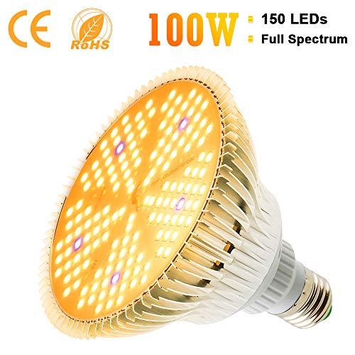 100W LED Pflanzenlampe Vollspektrum 150 LEDs Pflanzenlicht E27 Pflanzenleuchte Wachstumslampe Wachsen Lampe Grow Light für Garten Hydroponik Gewächshaus Sämling Zimmerpflanzen Gemüse Blumen