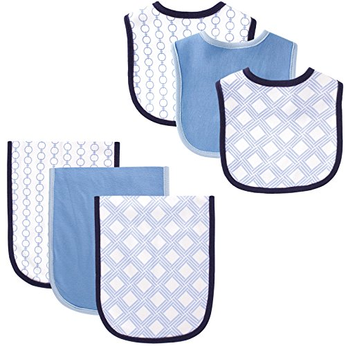 Hudson Baby 6 Piece Bib and Burp Cloth Set, Links