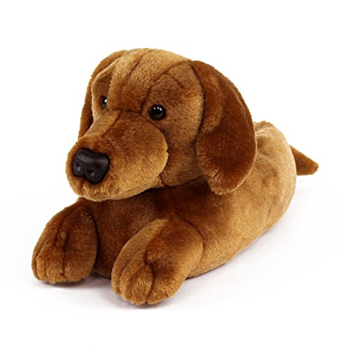 AnimalSlippers.com Dachshund Slippers - Plush Dog Animal Slippers Brown, 9-12