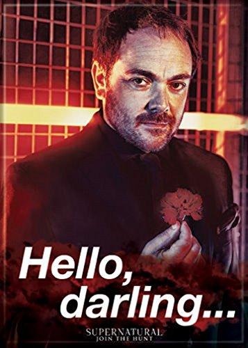 Ata-Boy Supernatural Crowley 'Hello, Darling' 2.5' x 3.5' Magnet for Refrigerators and Lockers