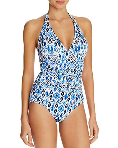 Tommy Bahama Womens Halter Empire-Seam One-Piece Swimsuit Blue 8