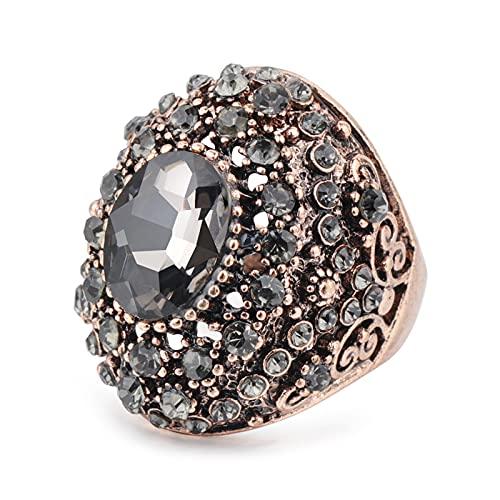 EzzySo Zircon Diez mil Diamantes Anillo, Estadounidense Retro Exquisito Cristal Personalidad Anillo de aleación joyería (2 Piezas),7