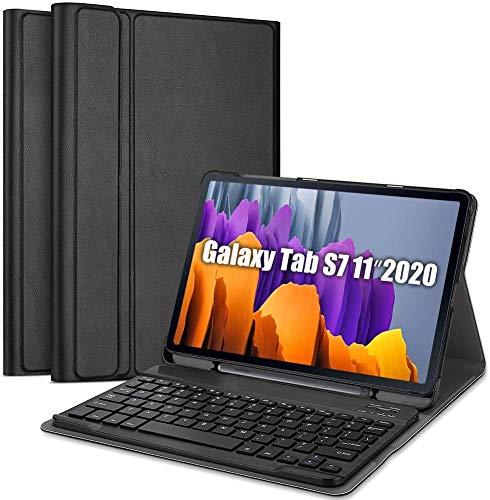 SaharaCase Keyboard Folio Case for Galaxy Tab S7 [Shockproof Bumper] Rugged Protection Anti-Slip Grip Slim fit Kickstand - Black