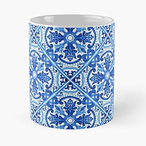 Portuguese Azulejo Tiles. – Taza de café de cerámica blanca, 11 oz que Je personalize.