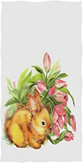 Naanle Eleghant Easter Rabbit Bunny and Flowe Soft Bath Towel Highly Absorbent Large Hand Towels Multipurpose for Bathroom, Hotel, Gym and Spa (16 x 30 Inches,White)