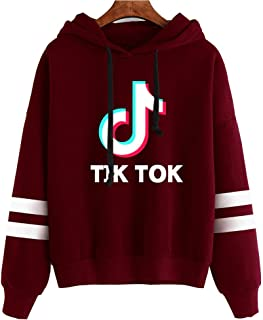DXJJ TIK Tok Sweatshirt Women Multicolor Optional Hoodie Adults Unisex Print Clothes Pullover,Burgundy,M
