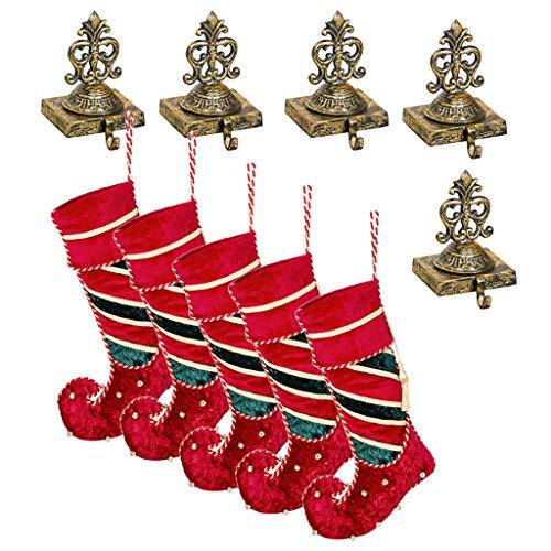 5lusso calza di Natale set regalo (calza H22x w11.5inch/Holder H7x W4pollici) fatto a mano in velluto Jingle Bell Elf Boot calze (più grande) e riciclato anticata in ghisa ornato oro antico rifinito a mano stile vittoriano Crown calza appendiabiti–festive Home decorazione per camini/davanzale/camino–perfetta alternativa al tradizionale–Gancio per calza, ideale per la famiglia di Natale
