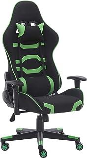 Sillas de juegos para adultos y niños, estilo de piel, silla reclinable con reposacabezas y almohada lumbar (verde)