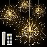 CP3 Firework Lights 120 LED Copper Wire Starburst Lights 8 Modes Rechargeable Power Bank Fairy Lights with Remote, Waterproof Hanging Lights for Christmas Party Garden Decoration 4 Pack(Warm White)