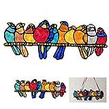 Atrapasueños de Pájaros de Vidrieras, Pájaros de Cristal en la Rama Suncatchers para Decoraciones para Colgar en Ventanas