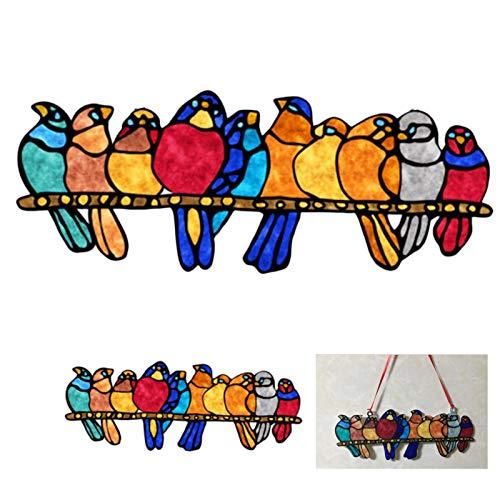 Witraż ptaki łapacze słońca, ptaki szklane na gałęzi łapacze do zawieszenia okna dekoracje akrylowe ptaki
