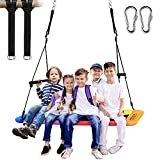 Newtion 1000lbs Giant 60' Platform Tree Swing for Kids and Adults with 2 Handles, Durable Steel Frame, 2 Handles, 2 Hanging Straps, 2 Carabiners for Outdoor Indoor Tree, Porch, Backyard, Playground