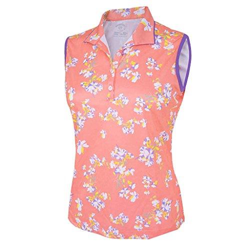 Monterey Club Women's Cherry Blossom Print Texture Sleeveless Top #2339 (Peach Pink/Royal Lilac, Large)