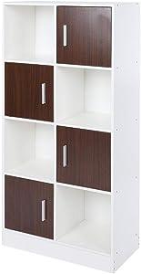 Estantería de 4 Niveles para Libros, 8 Compartimentos, 4 Puertas, Estante, archivador, estantería, estantería Infantil, Organizador para el hogar, 115 x 35 x 12 cm, para salón, Dormitorio