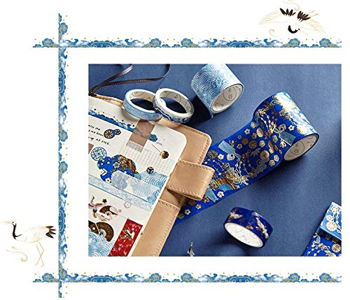 BCopter Washi Masking Tape Set Creative DIY Arts Kit Party Craft Favor for Kids Adults, Colorful Sticky Paper Decoration Gift Wrap Scrapbook Journal, Hand Tear Writable (Glitter Blue)
