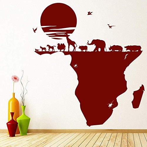 Muursticker Muursticker Safari Dieren Kaart van Afrika Vinyl Window Stickers Kids Slaapkamer Kwekerij Interieur Decor Verwijderbare Kunst Mural 74x82cm