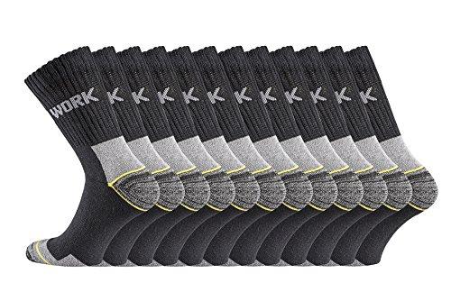 TippTexx24 6/9/12/15/18/21 Paar Arbeitssocken, Original-Worker-Socks, BLACK Edition (43/46, schwarz 12 Paar)