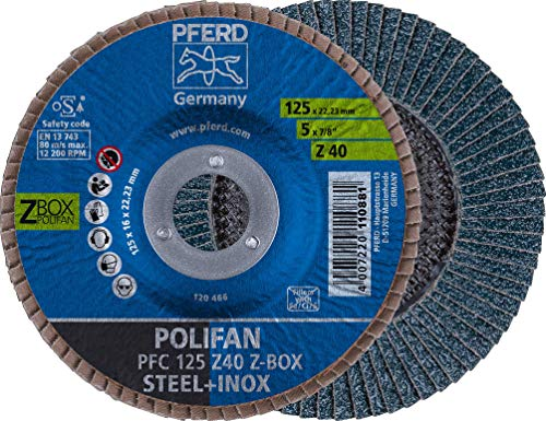 PFERD POLIFAN-Z-BOX – 10 x Fächerscheibe 125mm, Z40, 22,23 mm Bohrung, 69300934 – für hohe Zerspanungsleistung und solide Standzeit auf Stahl und Edelstahl (INOX)