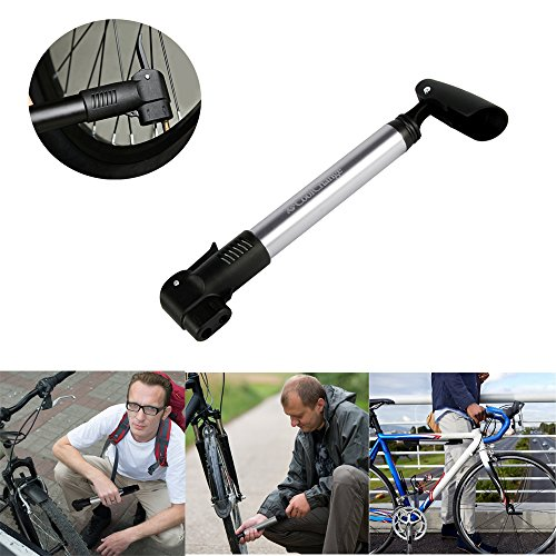 UVISTAR Minipumpe Fahrrad Rennrad, Presta Luftpumpe, 2 Ventil Französisches / Amerikanisches Ventil, Kleine Hochdruck Radpumpe, Universal für Mountainbike Mini Bike Unterwegs - 2
