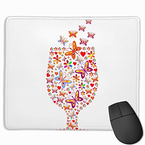 Silhouette of A Glass with A of Flowers Mouse pad Custom Rectangular Non-Slip Rubber Mouse pad Gaming Mouse pad