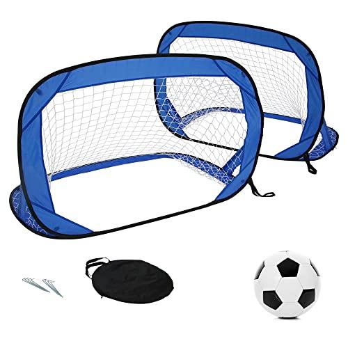 DREAMSPORTS 24 Kinder-Fußballtore für Garten (2er-Set) - Faltbare Pop-Up Tore im Set mit Fußball Größe 4 (inkl. Ballnadel zum Aufpumpen)