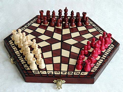 Master of Chess Unique Ajedrez de madera para 3 jugadores, juego de ajedrez único hecho a mano (pequeño 28 x 33 cm)