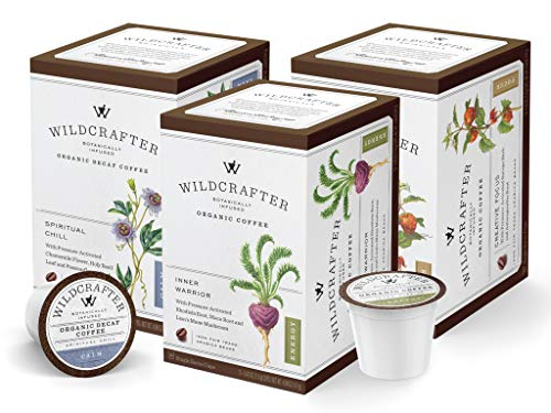 Wildcrafter Botanicals Organic K Cups Coffee Variety Pack - All Natural Herbal Pods For a Healthy Life. Includes Energy, Focus & Stress Relief Blends. 36 Count - Works With K-Cup Brewers & Keurig 2.0