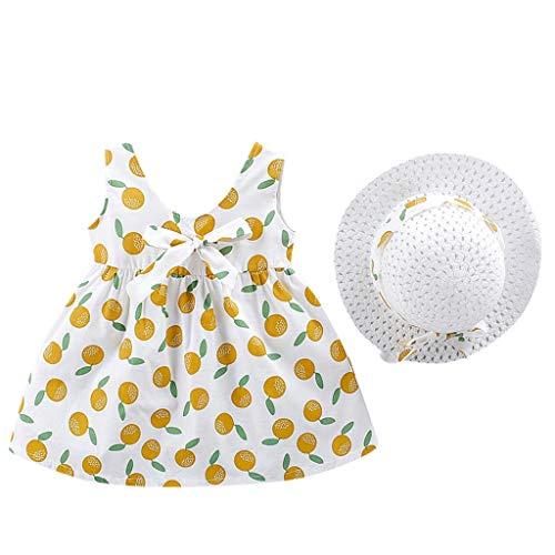 Vestido Niñas Verano Playa Sombrero para el Sol Bohemia Limón Estampado Sin Mangas Ropa Bebe Niña Recien Nacido Bautizo Princesa Vestidos Bebe Niña Disfraz Nina Vestir Chica (2# Amarillo, 2-3 años)