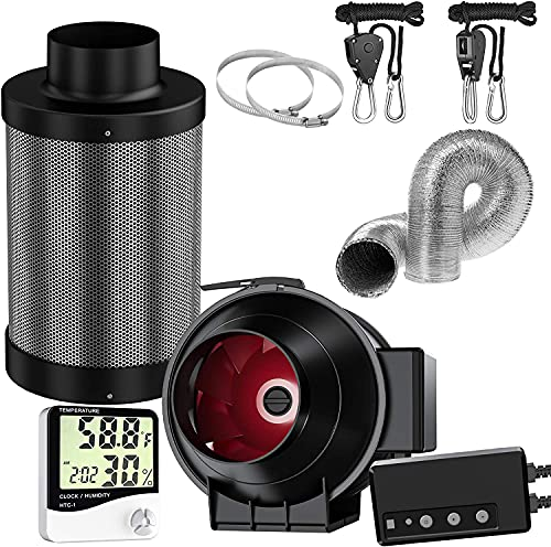 Auertech 4inch Air Carbon Filter Kit, 195 CFM Inline Fan with Remote Control & Speed Controller, 8 Feet of Ducting Temperature Humidity Monitor, Rope Hanger for Grow Tent (4 inch kit)