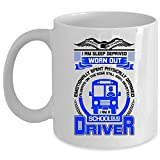 Soy una taza del conductor del autobús escolar, taza de café divertida de los conductores del autobús, soy una taza gastada privada del sueño (taza de café - BLANCO)
